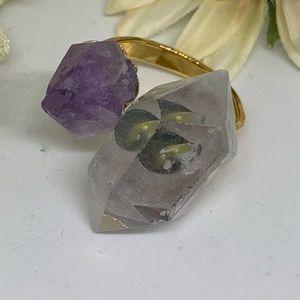 NuBella Jewelry - Natural Stone Amethyst & Quartz Ring [JW-113]